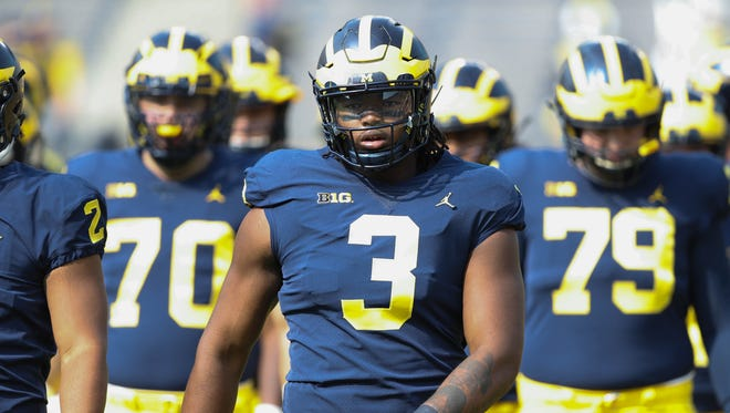 Michigan's Rashan Gary warms up before action against Air Force, Sept. 16, 2017 at Michigan Stadium.