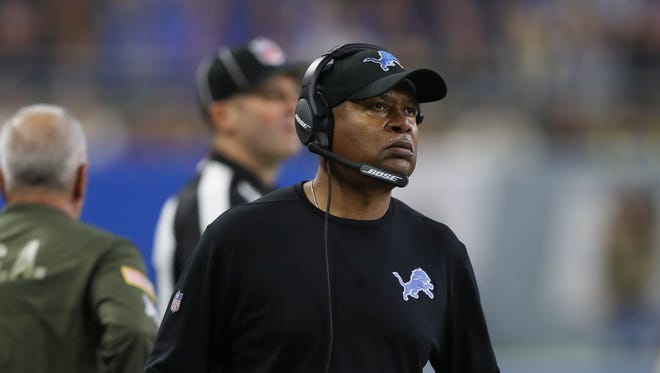 Detroit Lions coach Jim Caldwell on the sideline in the third quarter against the Cleveland Browns, Sunday, Nov. 12, 2017 at Ford Field.