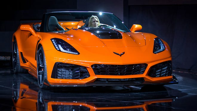 The 2019 Corvette ZR1 Convertible makes its world debut Tuesday, Nov. 28, 2017, in Los Angeles, Calif. The Corvette ZR1's unique aero package is central to the coupe's 212-m.p.h. top speed generated by the 755 horsepower LT5 6.2L supercharged engine. The ZR1 convertible will start at $123,995 and will go on sale in the spring 2018.