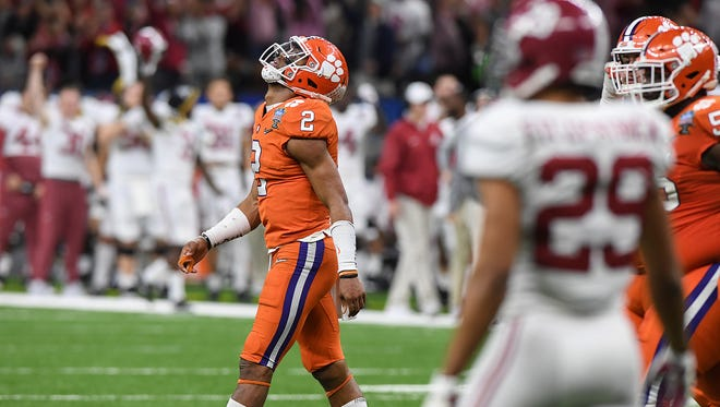 Clemson quarterback Kelly Bryant (2) reacts after the Tigers turned the ball over on downs to Alabama with less than two minutes to play in the 4th quarter of the Allstate Sugar Bowl at the Mercedes-Benz Superdome in New Orleans on Monday, January 1, 2018.
