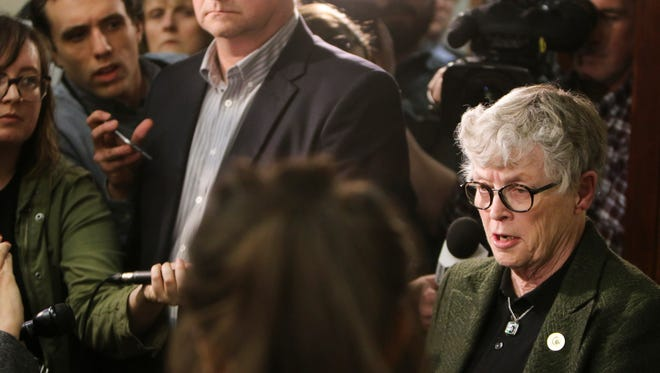 MSU President Lou Anna Simon speaks to members of the press, victims, and their families Wednesday afternoon, Jan. 17, 2018, in Circuit Judge Rosemarie Aquilina's courtroom during an afternoon break on the second day of victim impact statements regarding former sports medicine doctor Larry Nassar, who pled guilty to seven counts of sexual assault in Ingham County, and three in Eaton County.