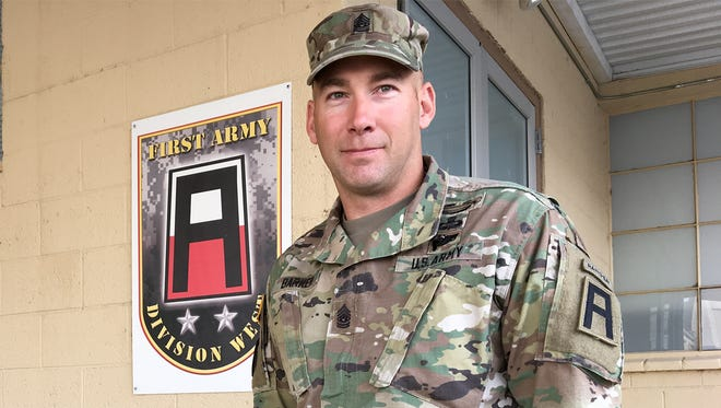 Command Sgt. Maj. Bryan Barker is the new senior enlisted leader for 5th Armored Brigade, Division West, First Army.