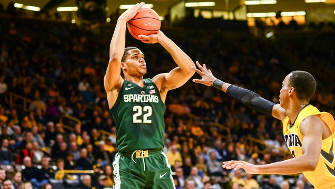 Michigan State's Miles Bridges shoots the ball against Iowa during the first half on Tuesday.