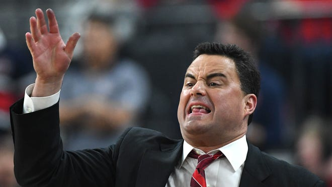 Arizona coach Sean Miller shouts during the Pac-12 Tournament final between the Wildcats and the USC Trojans on March 10.