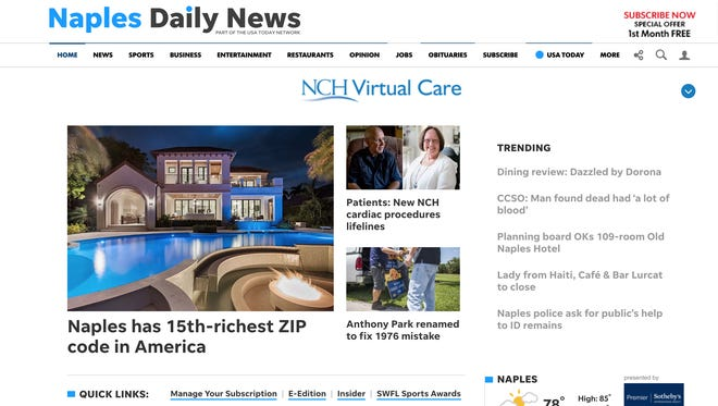 A screenshot of the Naples Daily News homepage