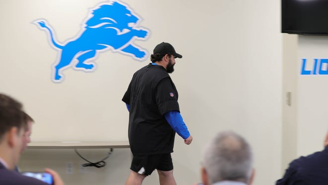 Lions head coach Matt Patricia arrives at a news conference to address a dismissed sex assault case May 10 in Allen Park.