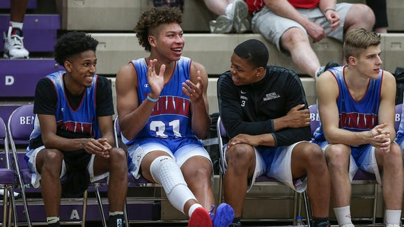 From left, Zionsville's Isaiah Thompson, New Castle's Mason Gillis and Scecina's Manuel Brown react to game action during the IndyStar Indiana Junior All-Stars versus Kentucky Junior All-Stars at Ben Davis High School in Indianapolis, Sunday, June 3, 2018. Kentucky won, 90-85.