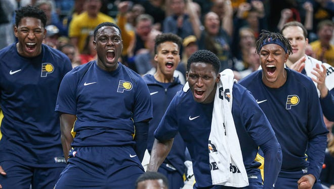 Players on the Indiana Pacers bench react to a call involving Indiana Pacers guard Lance Stephenson (1) during second half action between the Indiana Pacers and Brooklyn Nets in the home opener at Banker's Life Fieldhouse, Indianapolis, Wednesday, Oct. 18, 2017. The Pacers won, 140-131.