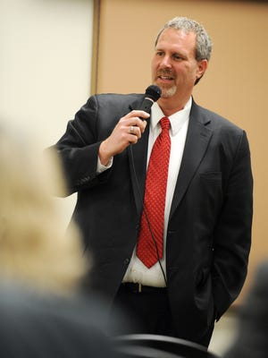 State Sen. Rick Gudex, R-Fond du Lac, answers questions at a Town Hall meeting on Feb. 19, 2013, at the Fond du Lac Public Library.