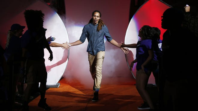 Phoenix Mercury Brittney Griner during the 2014 WNBA Championship ring ceremony at the season opener on Friday, June 5, 2015 at US Airways Center in Phoenix, AZ. Griner filed for annulment of her marriage to WNBA player Glory Johnson-Griner June 5, 2015.