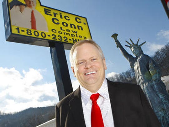 Eric Conn outside his Floyd County law firm