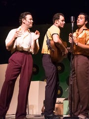 "Marek Sapieyevski as Jerry Lee Lewis, Todd Meredith as Johnny Cash and Morgan McDwoell as Elvis Presley  in Old Creamery Theatre's production of ""Million Dollar Quartet."" Photo by Lily Allen-Duenes."