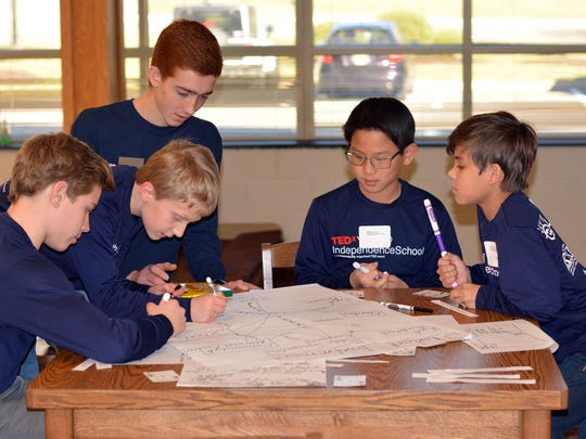 Students at The Independence School participated in breakout sessions between speakers at Sunday's TEDxYouth program.