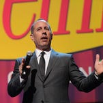 Jerry Seinfeld speaks at the 2015 Hulu Upfront Presentation in New York City.