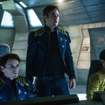 """From left, Anton Yelchin, Chris Pine and John Cho appear in a scene from, """"Star Trek Beyond."""""""