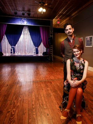 Husband and wife duo Dylan Rogers and Jeana-Dee Allen in The Robin Theatre Tuesday, March 7, 2017, in REO Town.  They opened their community-minded performing arts space in August of 2015, and reside in the loft above their theatre.