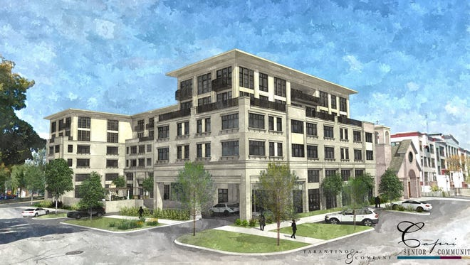 St. Rita Catholic Church would be replaced by a six-story senior apartment development, and new church, under a proposal being recommended for approval by the Plan Commission.