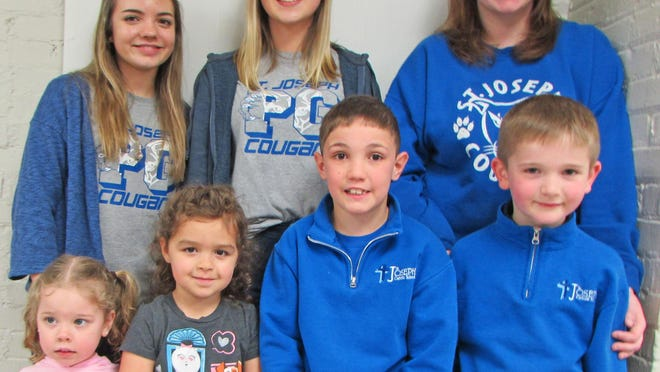Staff and students celebrating June birthdays at St. Joseph Catholic School in Pilot Grove are, from left, front, Stella Reuter, Ashlyn Root, Colton Hodges, Joseph Inskeep, back, Maddie Watring, Elaina Wirths and Allison Hodges.