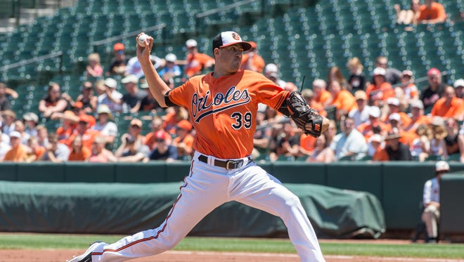 Orioles pitcher Kevin Gausman throws a pitch during a game against the Tampa Bay Rays on Saturday, June 25, 2016.