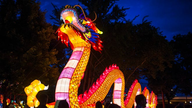 A 200 foot long dragon on display at the Chinese Lantern Festival Thursday, June 8, 2017 in Philadelphia.