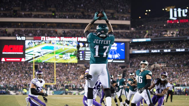 Eagles' Alshon Jeffery (17) catches a pass for a touchdown against the Minnesota Vikings in an NFC Championship game Sunday, Jan. 21, 2018 in Philadelphia. The Eagles won 38-7 and will advance to the Super Bowl.