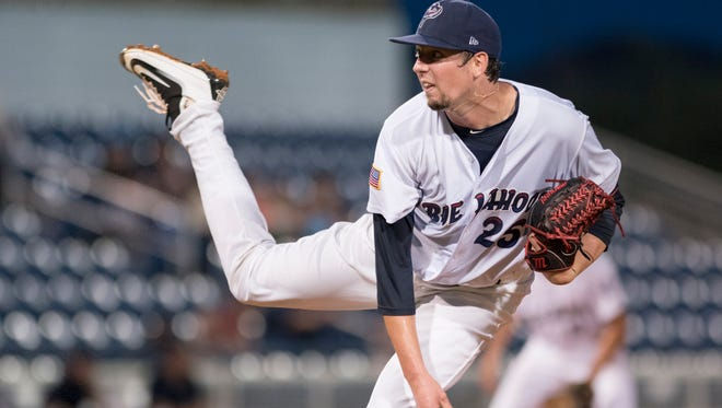 Starter Deck MGuire (25) follows through on a pitch during the Mobile BayBears vs the Pensacola Blue Wahoos baseball game on Friday in Pensacola.