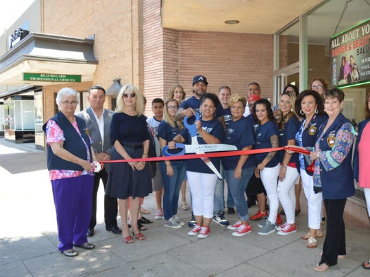 Mayor Brenda Gunter and City Council Member Harry Thomas joined the Concho Cadre as they prepare to cut the red ribbon at All About You, Barber and Beauty Shop, 13 W. Beauregard Ave., with staff members Consuelo, Monika, Angela, Blayne and Brogan on June 21 in San Angelo.