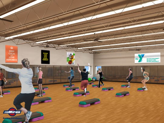 The aerobics studio at the Heart of the Valley YMCA