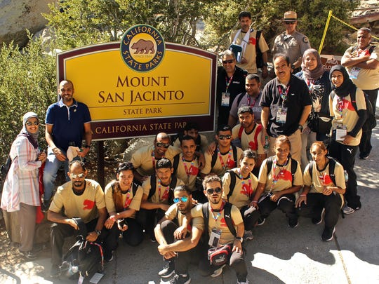 Twenty-two Bahraini athletes took the tram up to Mount San Jacinto State Park on Wednesday. They are spending a few days in Palm Springs to adjust to the time zone and climate before competing in the games in Los Angeles July 25 to Aug. 2.