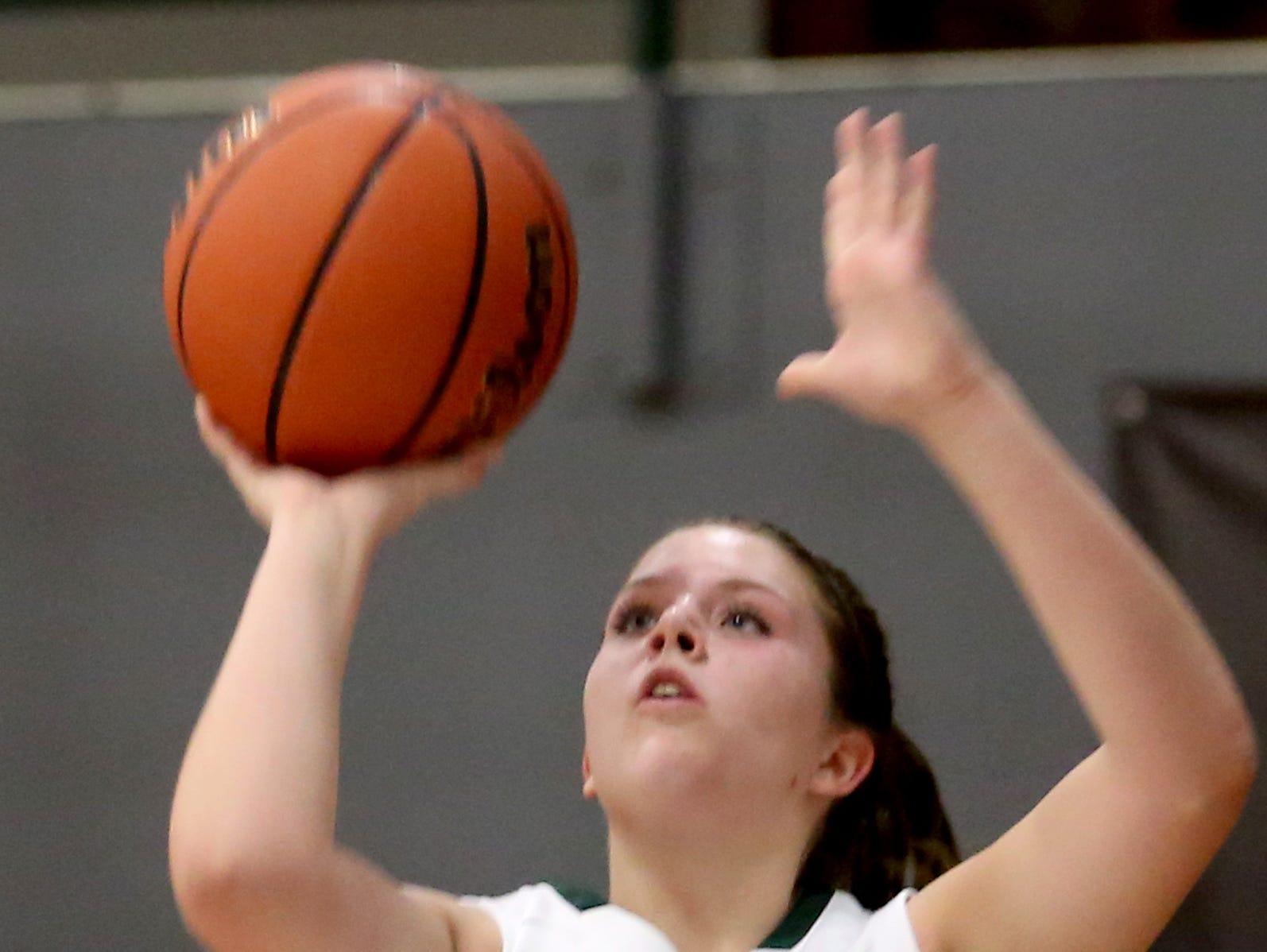 Salem Academy's Aimee Smith (5) shoots the ball in the Blanchet vs. Salem Academy girl's basketball game at Salem Academy High School on Thursday, Jan. 14, 2016. Blanchet won the game 56-43.