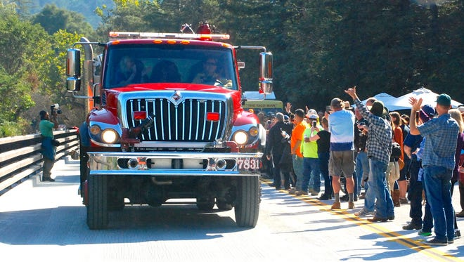 A Big Sur Fire Brigade engine was one of the first vehicles to cross the new bridge.