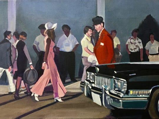 "Marti Jones Dixon, ""Airport,"" oil on canvas, 12x24""."