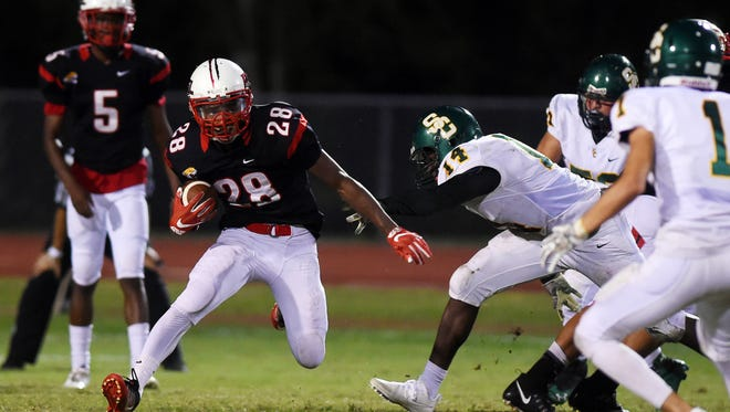 Port St. Lucie's Montavious Yearby, seen in a Sept. 28 game against Suncoast, scored two more touchdowns Friday, Oct. 20, 2017, in the Jaguars' 40-14 win over Bayside.