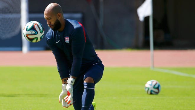U.S. goalkeeper Tim Howard takes part in a training session Monday. With 103 international appearances and 55 wins, both U.S. records for his position, Howard's legacy is secure.