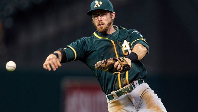 Oakland Athletics second baseman Eric Sogard (28) throws to first base during the eighth inning against the Houston Astros at Minute Maid Park.