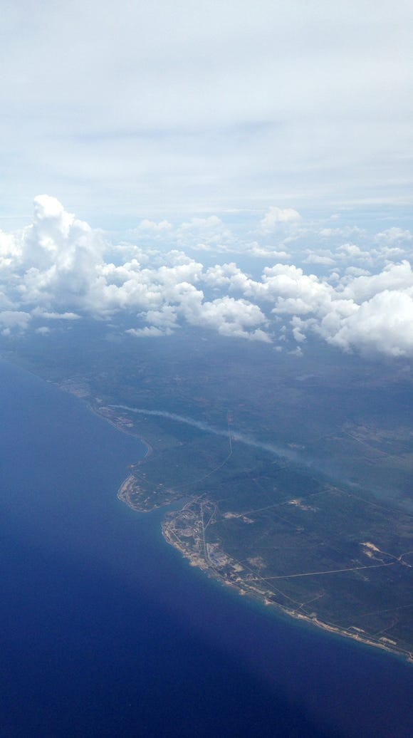 A cloudy view of Havana after take-off on a JetBlue