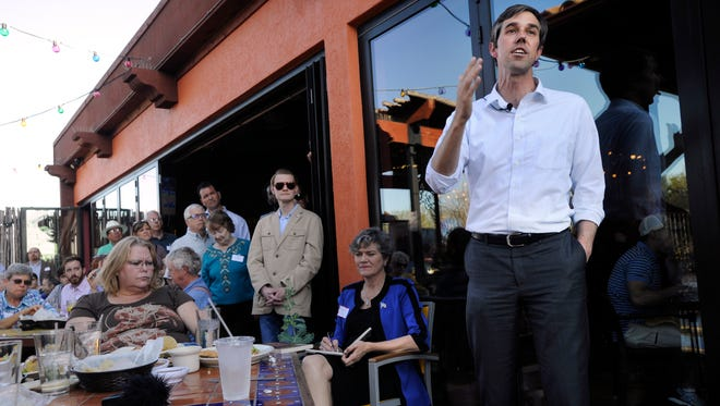 Beto O'Rourke, the U.S. Representative to the 16th District, speaks during a gathering of Democrats and others at Miguel's Mex Tex Cafe Sunday March 19, 2017.