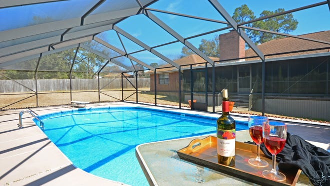 3347 Bold Ruler Drive, the pool area is perfect for entertaining.