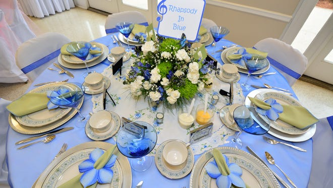 The Rhapsody in Blue table at the 2015 Tour of Tables, presented by The Pensacola Federation of Garden Clubs.