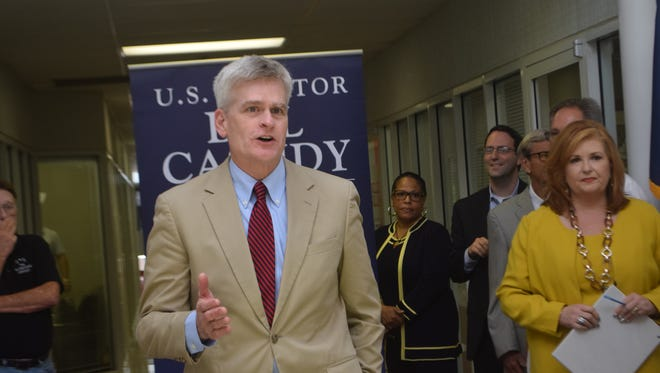 U.S. Sen. Bill Cassidy speaks at the opening of his new regional office in Alexandria on Wednesday.