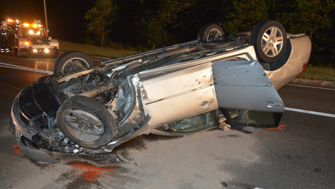 A man was hospitalized after a serious crashed closed Route 37 in Manchester Saturday night.