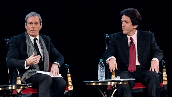 """Michael Bolton and Mitch Albom discuss the first short film segment during an exclusive """"Spirit of Detroit"""" screening of Bolton's upcoming documentary """"Gotta Keep Dreaming"""" on Friday, Oct. 2, 2015, at the Fox Theatre."""