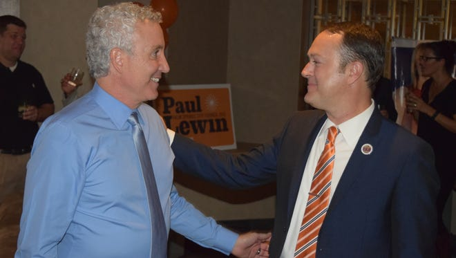 A loud cheer went up when Geoff Kors showed up at Paul Lewin's event. Lewin congratulated Geoff on his presumptive victory.