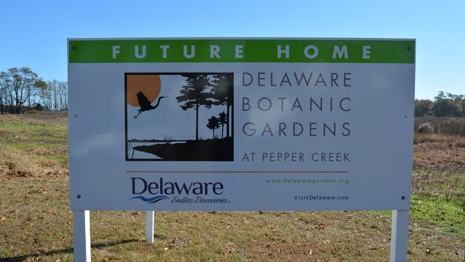 A sign near Dagsboro marks the future home of the Delaware Botanic Gardens at Pepper Creek.