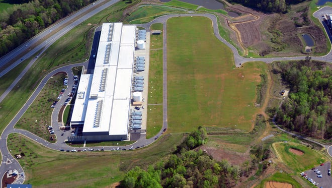 Aerial view of Facebook data center in Forest City.