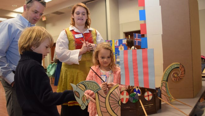 Homeschool student Emily Simpson talks about her project on Iceland for the Louisiana Homeschool Geography Fair held at Louisiana College.