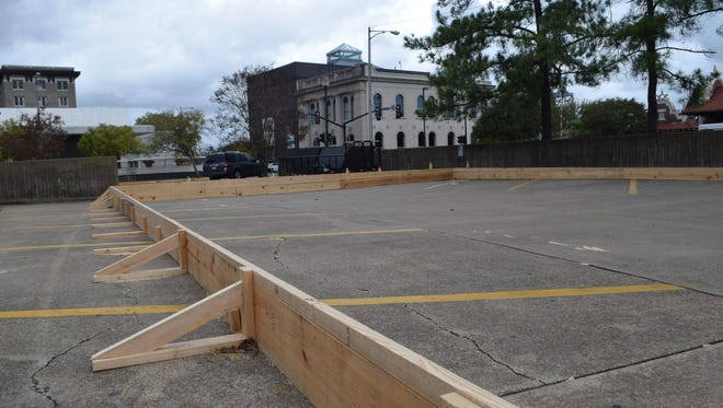 The frame has been set up for an ice skating rink to be available to the public in the mini-park in downtown Alexandria during Alex Winter Fête. The festival is set for Dec. 3-5. Skating will be free, and skates will be provided at no charge.