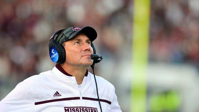 Mississippi State coach Dan Mullen prepares his team for Arkansas' defensive line.