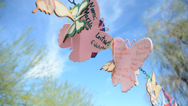 About 500 butterflies hang outside of the Tolerance Education Center in Rancho Mirage. The Butterfly Project recognizes victims of hate crimes.