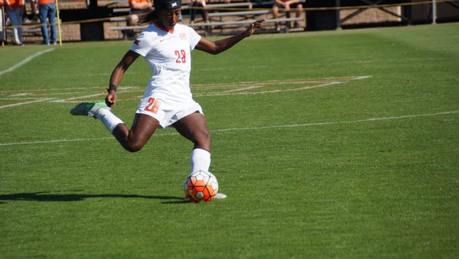 Christina Jean-Charles advances the ball for the Oklahoma State Cowgirls in a game against the Kansas Jayhawks on Oct. 25.